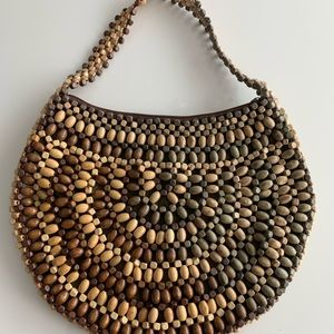 Vintage wooden beaded round handbag Boho purse